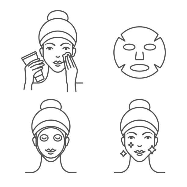 ilustrações, clipart, desenhos animados e ícones de como usar uma máscara de folha, passos. - limpando rosto