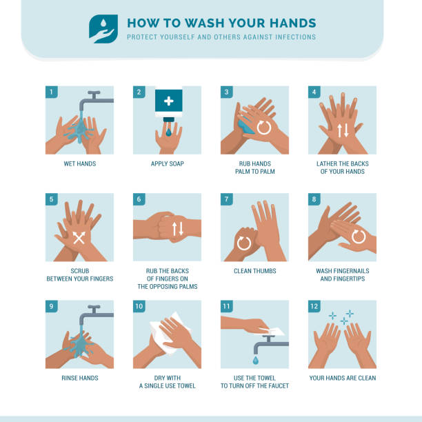 How to wash your hands Personal hygiene, disease prevention and healthcare educational infographic: how to wash your hands properly step by step instructions stock illustrations