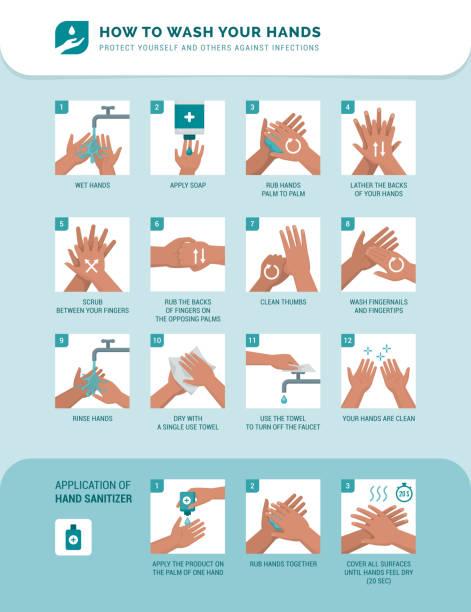 bildbanksillustrationer, clip art samt tecknat material och ikoner med hur man tvättar händerna - washing hands