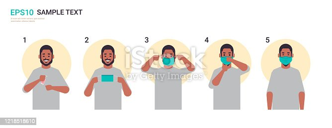 how to wear medical face mask covid-19 protection african american man presenting step by step correct method of wearing mask to reduce coronavirus spreading horizontal portrait vector illustration