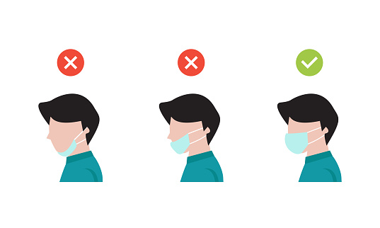 how to wearing protective mask correctly.Man wear protective mask against infectious diseases