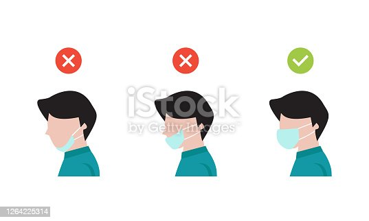 istock how to wearing protective mask correctly.Man wear protective mask against infectious diseases 1264225314