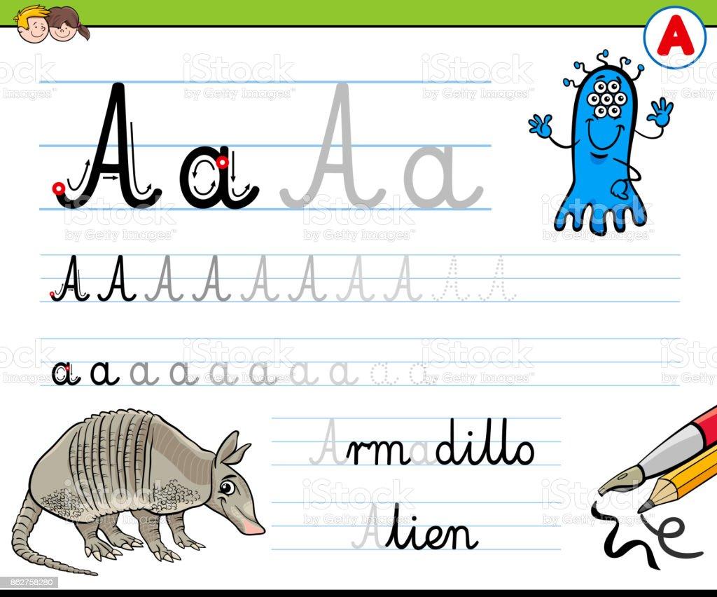 Gewusst Wie Schreiben Sie Buchstaben A Arbeitsblatt Für Kinder Stock ...