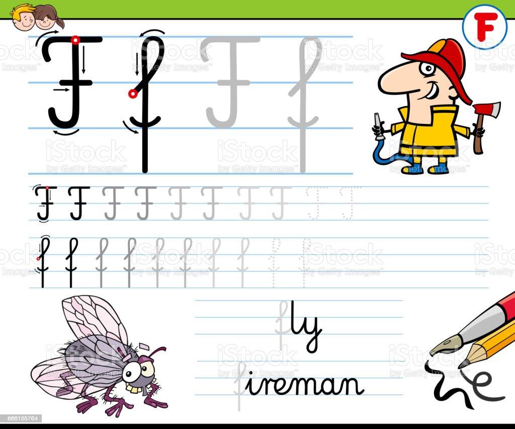 Gewusst Wie Schreiben Sie Buchstaben F Arbeitsblatt Für Kinder Stock ...