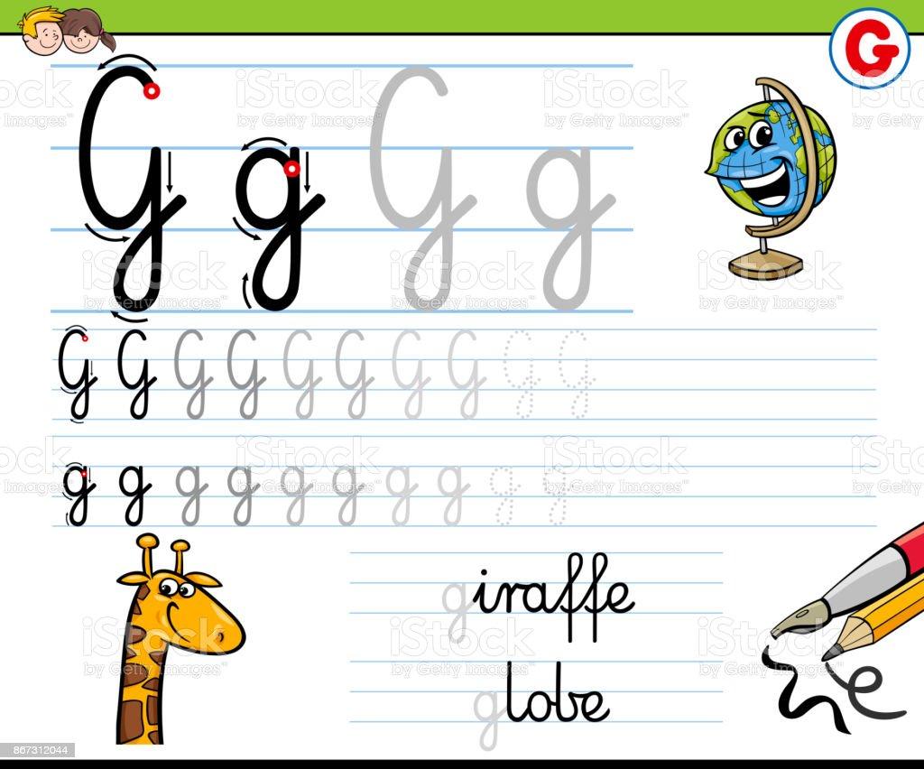 How To Write Letter G Worksheet For Kids Stock Vector Art More