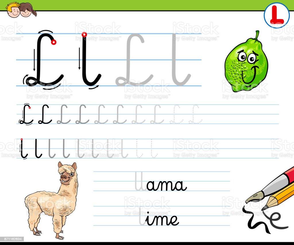How To Write Letter L Worksheet For Kids Stock Vector Art More