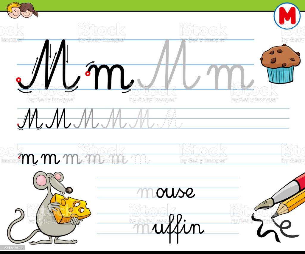 Gewusst Wie Schreiben Sie Buchstaben M Arbeitsblatt Für Kinder Stock ...