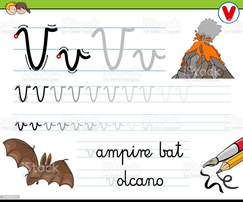 Gewusst Wie Schreiben Sie Buchstaben V Arbeitsblatt Für Kinder Stock ...