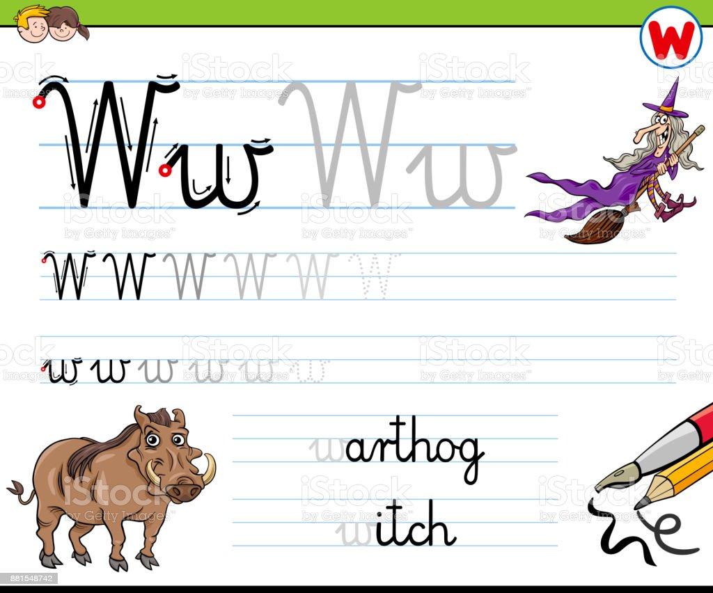 Gewusst Wie Schreiben Sie Buchstaben W Arbeitsblatt Für Kinder Stock ...