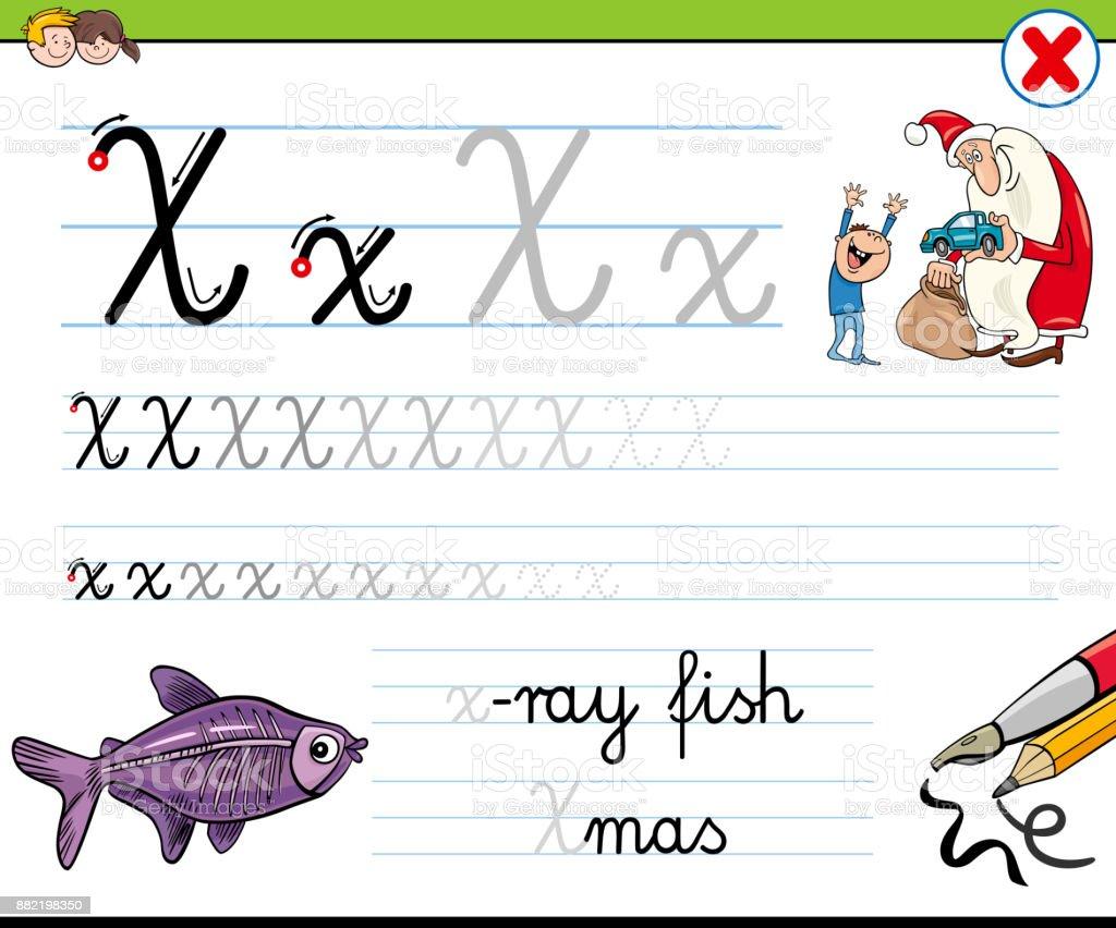 Gewusst Wie Schreiben Sie Buchstaben X Arbeitsblatt Für Kinder Stock ...