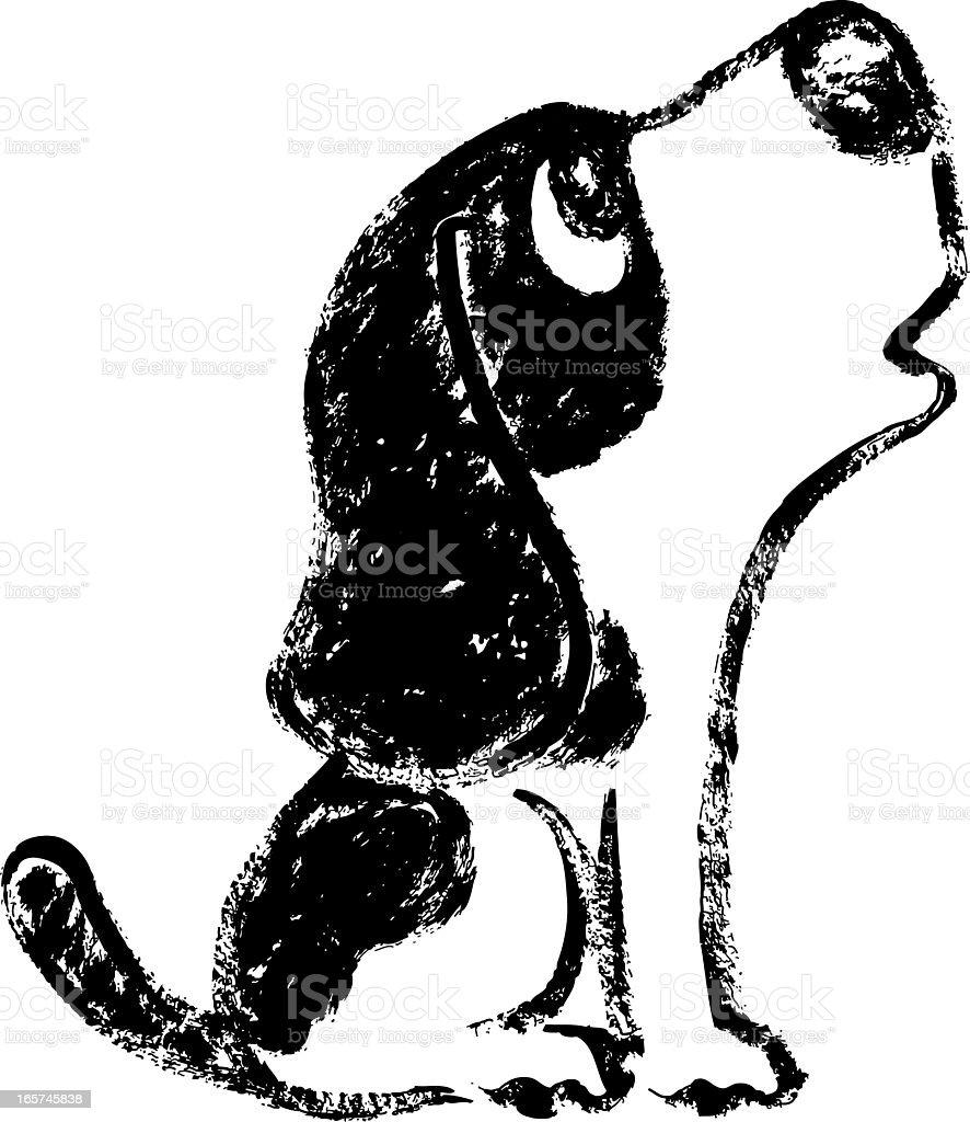 Howl of black and white hound vector art illustration