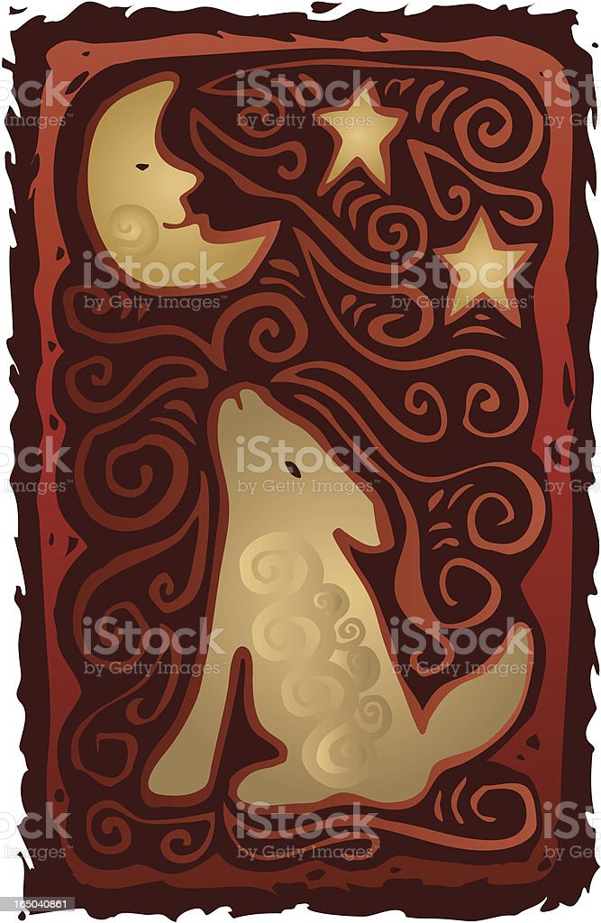 Howling Southwest Dog royalty-free stock vector art
