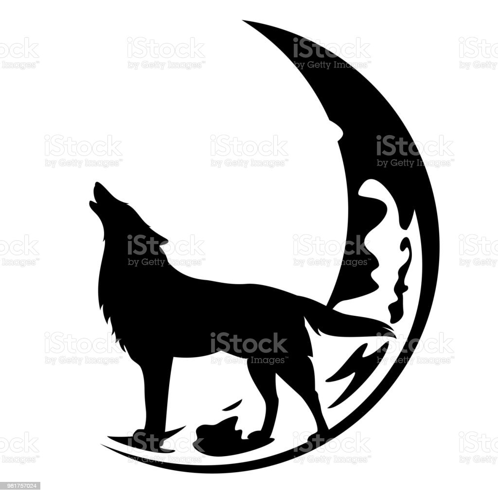 howling wolf and crescent moon vector stock illustration download image now istock howling wolf and crescent moon vector stock illustration download image now istock