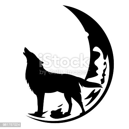 howling wolf standing at crescent moon black and white vector design