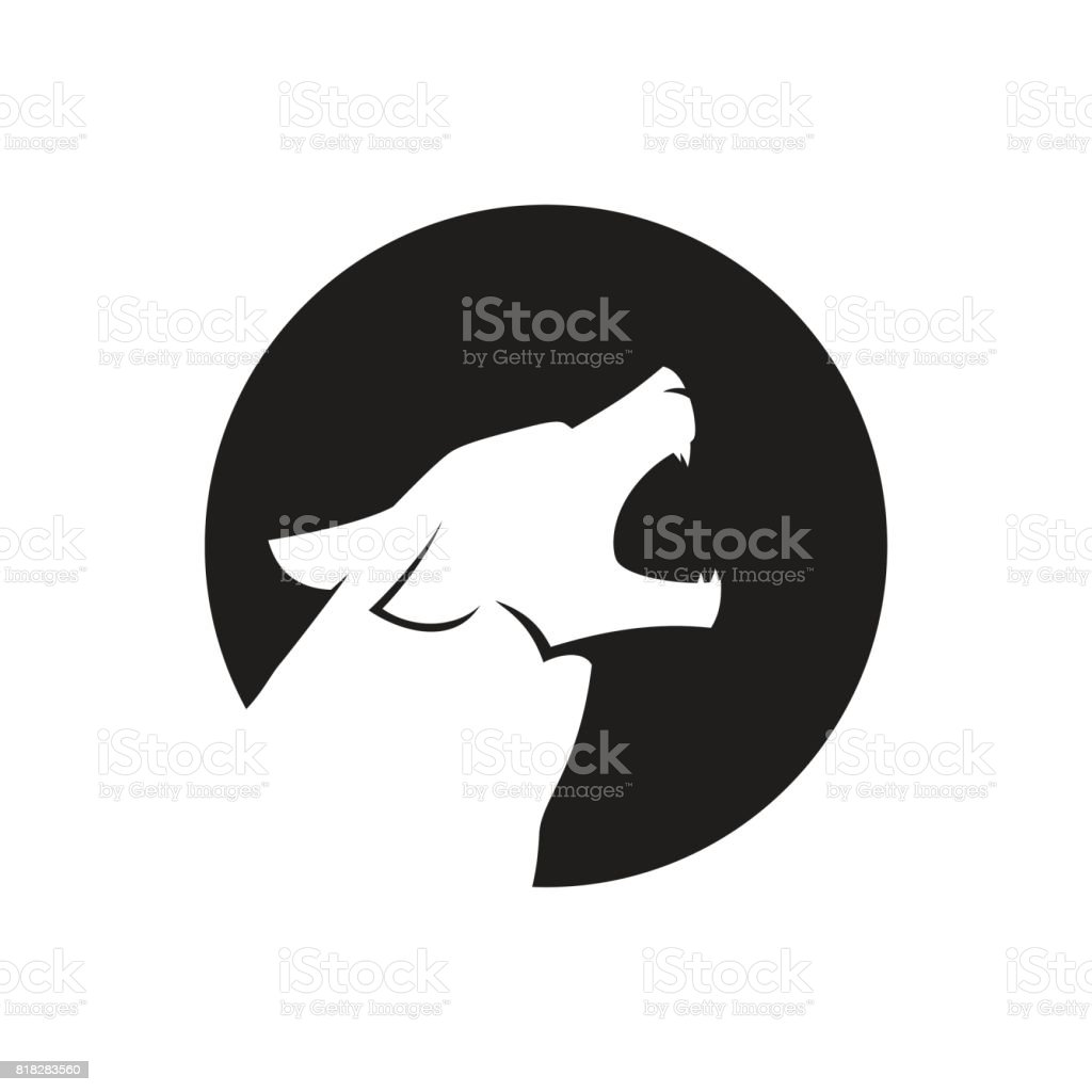 Howling wolf head icon or icon in black and white vector art illustration