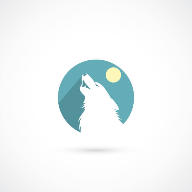 Howling wolf sign - vector illustration Howling wolf sign silhouette of a howling coyote stock illustrations