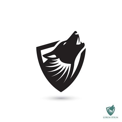 Howling wolf symbol - vector illustration