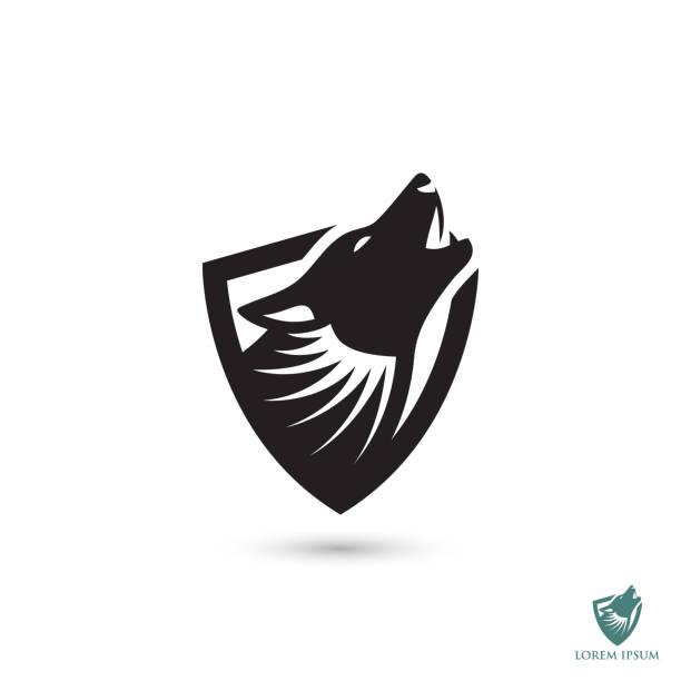 illustrazioni stock, clip art, cartoni animati e icone di tendenza di howling wolf symbol - vector illustration - lupo