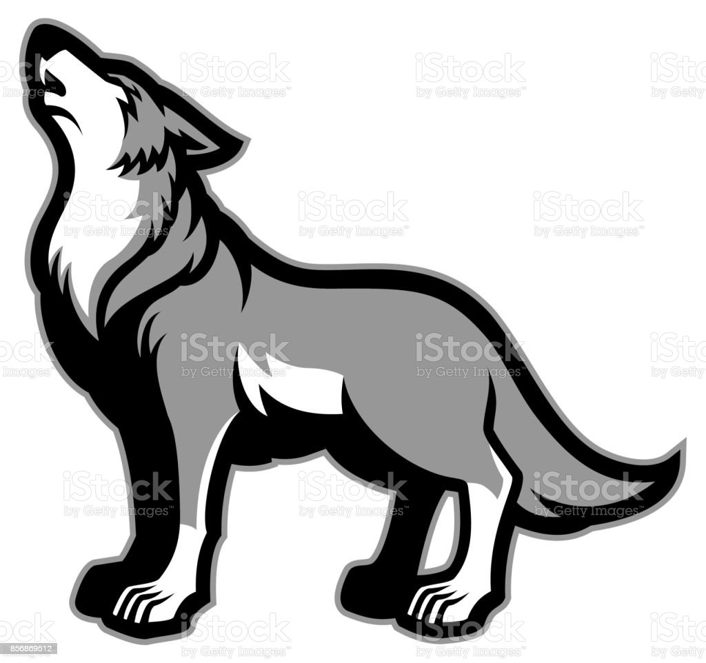 howling wolf vector art illustration
