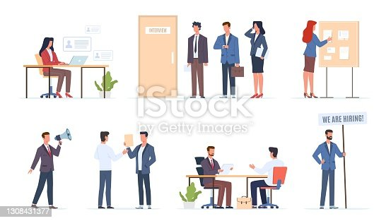 istock Hr employer interview. Job hiring talents, managers talk seekers, people finding work process, owner cabinet queue, bulletin board. Vacancy in company recruiter search staff vector set 1308431377