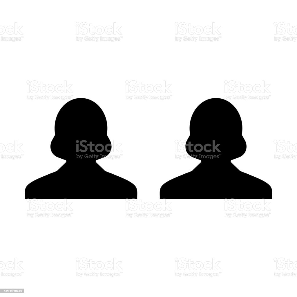 Hr icon vector female group of persons symbol avatar for business team management in flat color glyph pictogram illustration - arte vettoriale royalty-free di Adulto