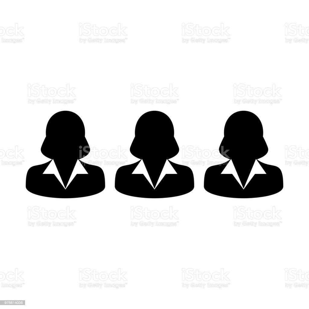 HR-Symbol Vektor weibliche Personengruppe Avatar für Business-Management-Team in flache Farbe Glyphe Piktogramm symbol - Lizenzfrei Anwalt Vektorgrafik