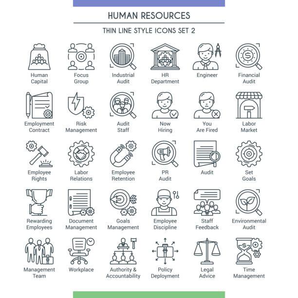 illustrazioni stock, clip art, cartoni animati e icone di tendenza di icone hr sline set 2 - focus group