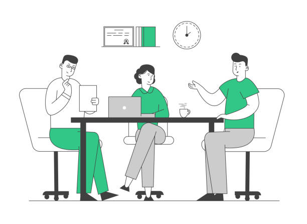ilustrações de stock, clip art, desenhos animados e ícones de hr manager hold candidate resume in hands welcoming applicant at job interview. relaxed man tell about working skills, ideas and work experience to committee cartoon flat vector illustration, line art - job interview