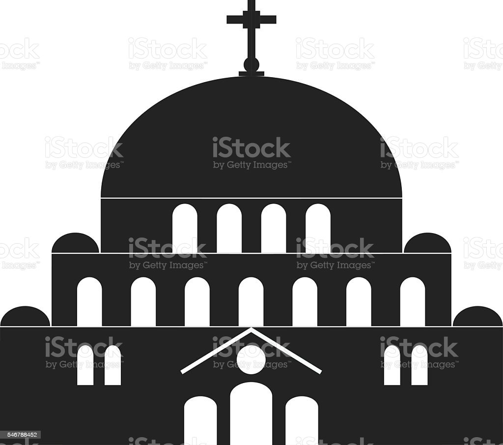 Hram Svetog Save.Saint Sava Church in Belgrade, Serbia. vector art illustration