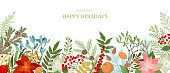 Ð¡hristmas border with winter plants and floral, poinsettia, holly berries, mistletoe, pine and fir branches, cones, rowan berries. Xmas and New Year vector illustration. Holiday design template