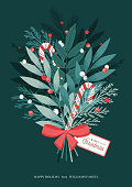 Ð¡hristmas bouquet with bow, lollipops, holly berries, winter plants and leaves, pine branches. Xmas and Happy New Year postcard. Vector illustration