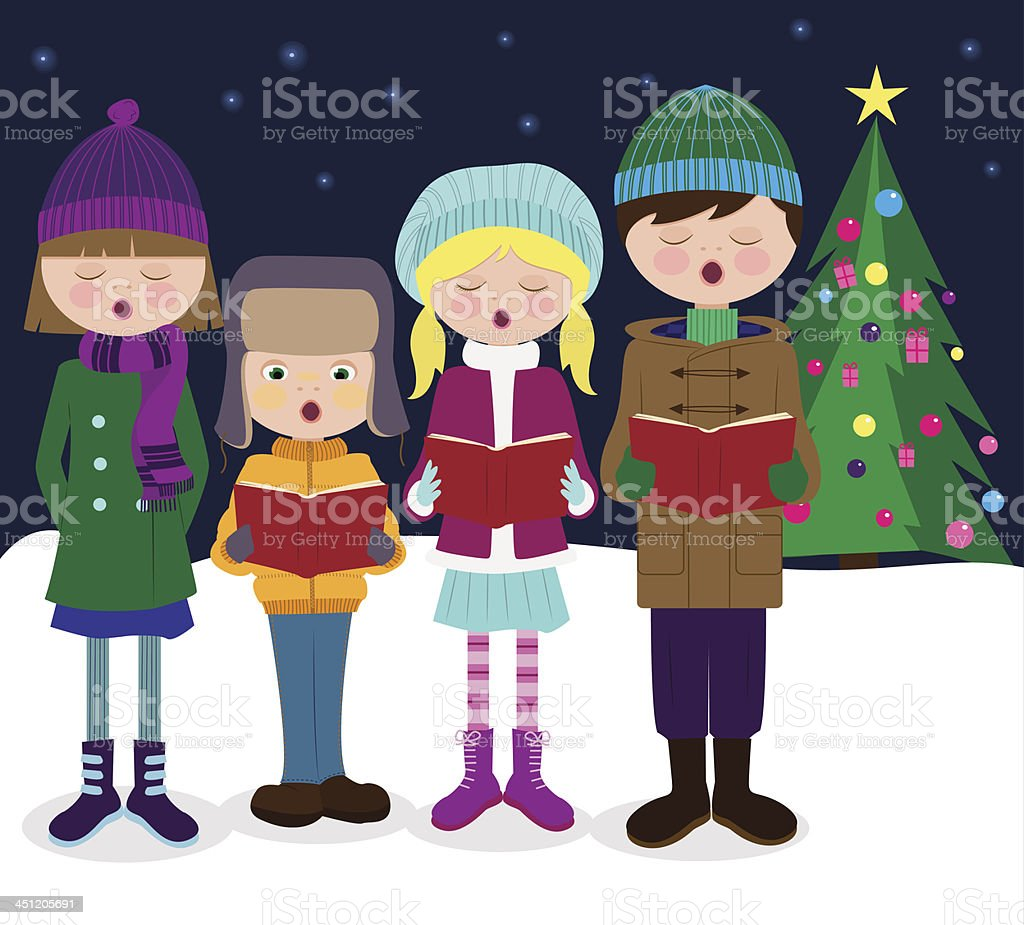 Сhristmas carolers sing - Illustration vector art illustration