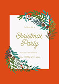 Ð¡hristmas  frame with fir and pine branches, winter plants, holly berries, cones. Xmas and Happy New Year party invitation. Vector illustration