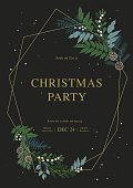 Ð¡hristmas golden frame with confetti, fir branches, winter plants, holly berries, cones. Xmas and Happy New Year party invitation. Vector illustration