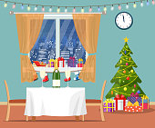 hristmas room interior. Christmas tree, table, gifts and decoration. Merry christmas holiday. New year and xmas celebration. Vector illustration flat style