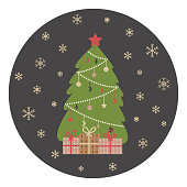 Ð¡hristmas tree with garland and gift boxes. Snowflakes on a round dark background.
