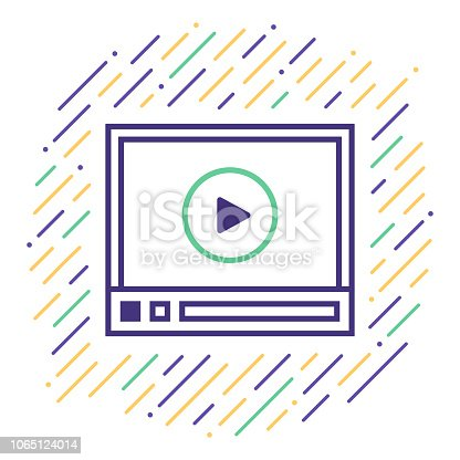 Line vector icon illustration of html5 video player.