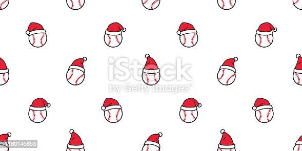 baseball seamless pattern Christmas vector Santa Claus hat softball sport cartoon scarf isolated repeat wallpaper tile background illustration doodle design
