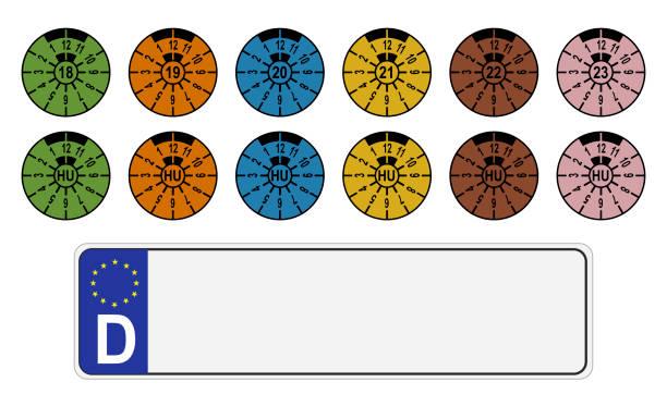hu-platte isoliert - nummernschilder stock-grafiken, -clipart, -cartoons und -symbole