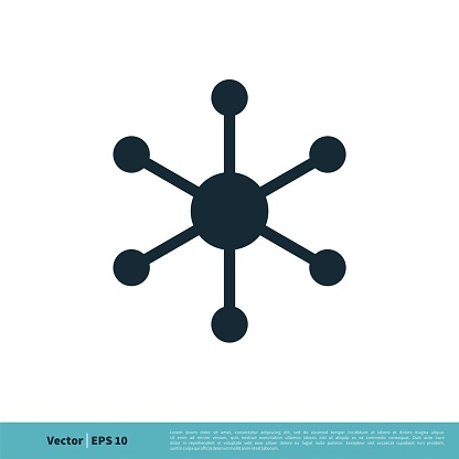 Hub and spoke line icon, linear style pictogram isolated on white. Central database symbol Icon Vector Logo Template Illustration Design. Vector EPS 10.