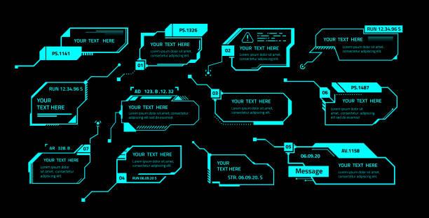 hud-aufruf. anruffeld-meldungslayout mit textvorlage, futuristische technologie ui elemente, spiel call out banner, quadratische rahmen, visualisierung menüpanels vektor vr dashboards gesetzt - dashboard, hintergrund, hell stock-grafiken, -clipart, -cartoons und -symbole