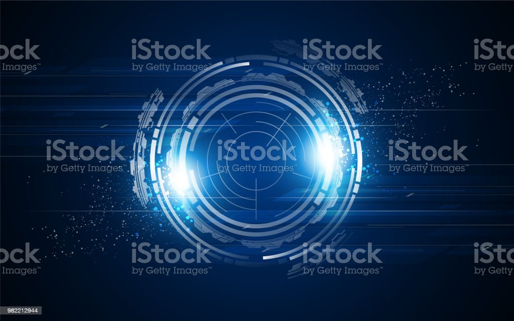Hud Digital Cyber Concept Circular Template Background Stock Illustration -  Download Image Now