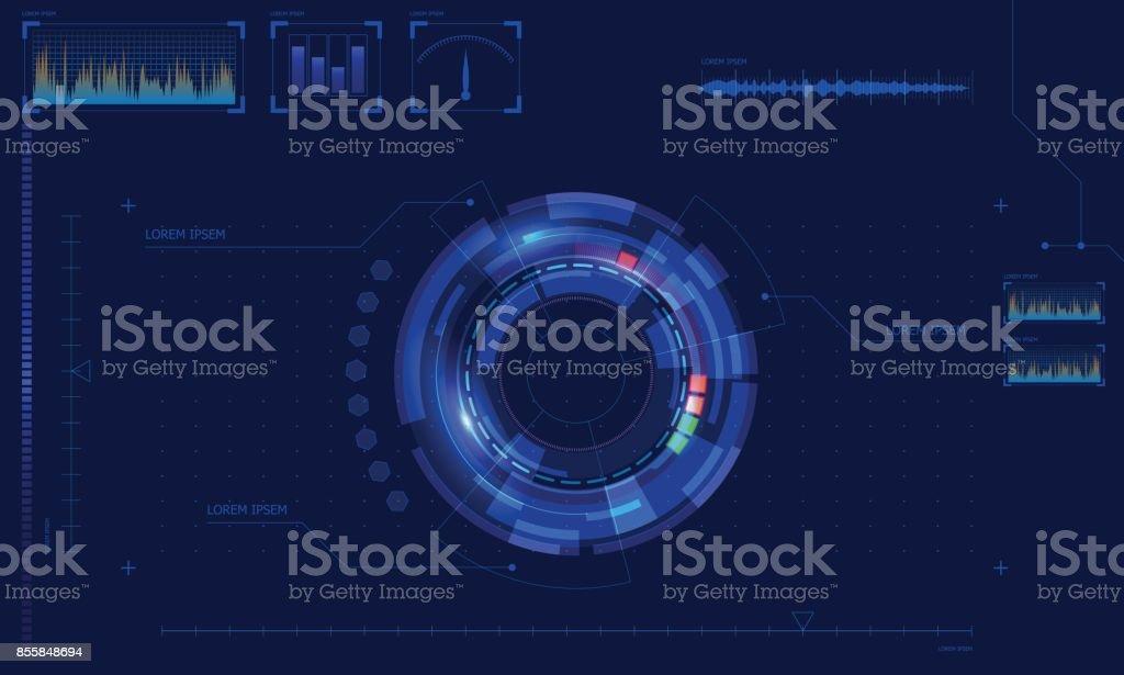 Hud Display elements, Forex Graph vector art illustration
