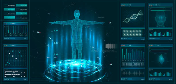 Hud element ui medical examination. Display set of virtual interface elements. Modern medical examination HUD style Hud element ui medical examination. the human body stock illustrations
