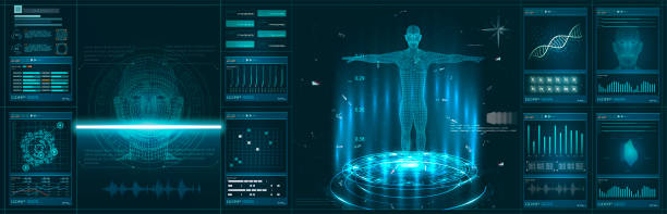 Hud element ui medical examination. Display set of virtual interface elements. Modern medical examination Hud element ui medical examination. Display set of virtual interface elements. Modern medical medical x ray stock illustrations
