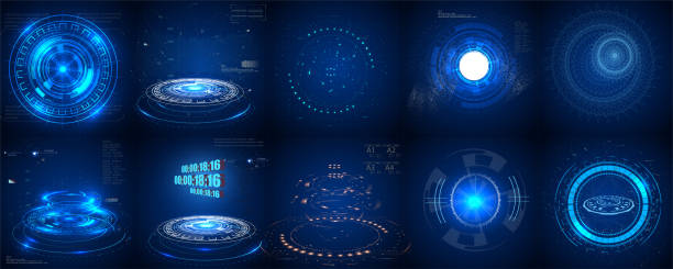 hud futuristic element. set of circle abstract digital technology ui futuristic hud virtual interface elements sci- fi modern user for graphic motion, - futurystyczny stock illustrations