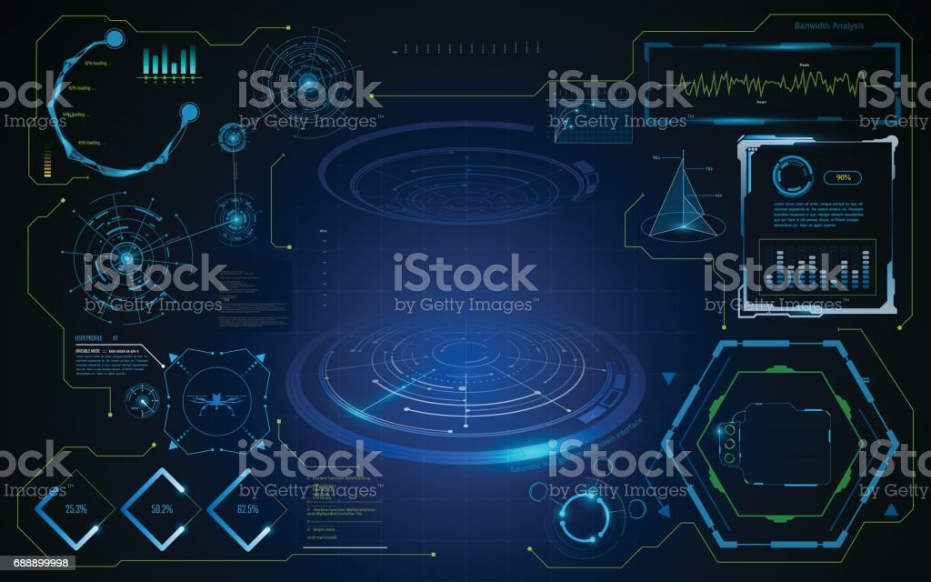 hud gui interface virtual artificial intelligence template vector art illustration