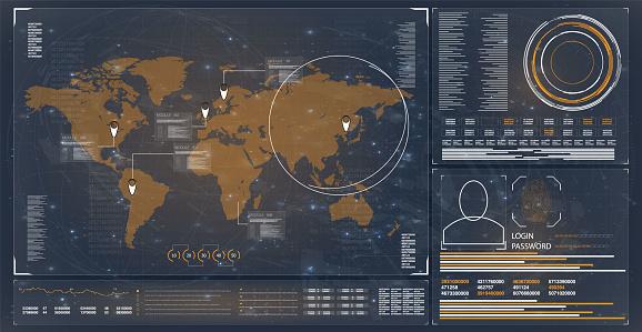 Hud. Hud. Abstract technology security data network system background, vector illustration. Hud ui.