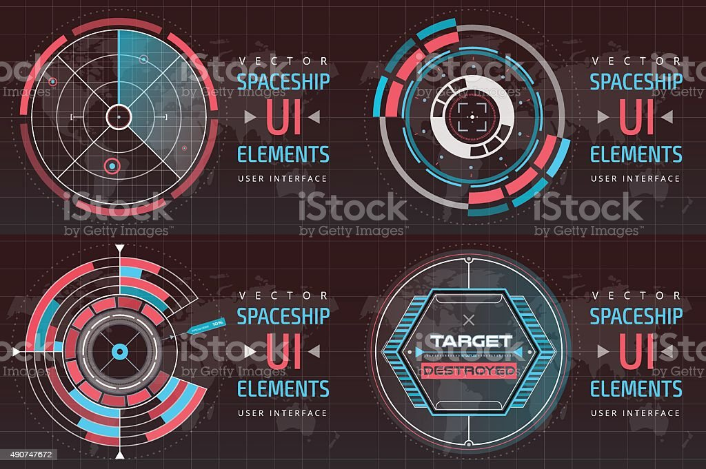 UI hud infographic interface screen monitor radar set web elements vector art illustration