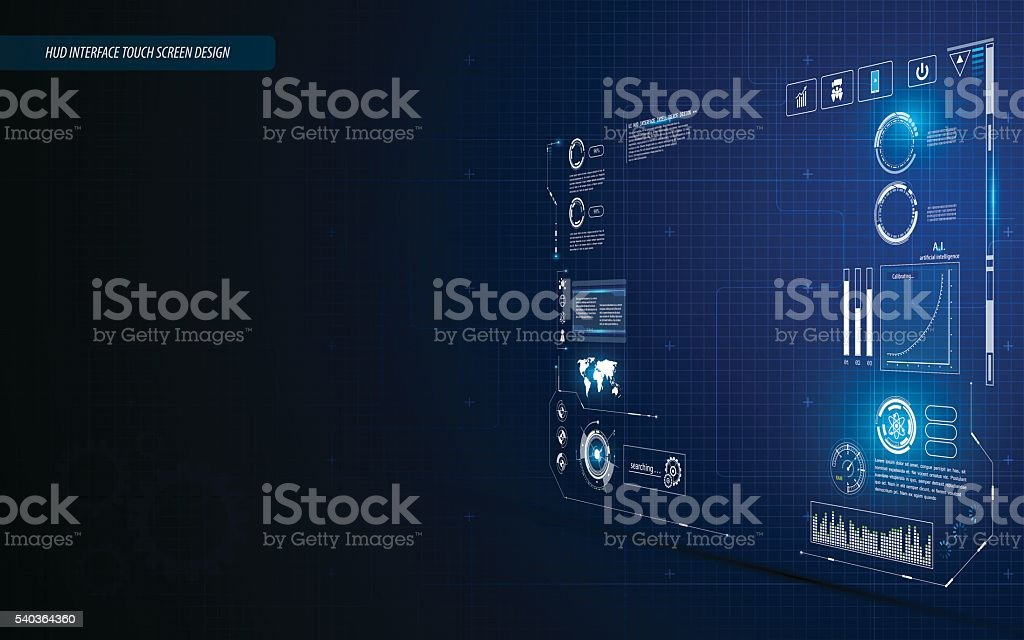 hud interface dashboard touch screen perspective design background vector art illustration